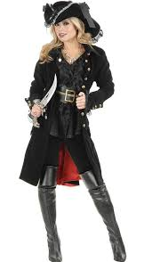 Halloween Pirate Costumes Women Black Punk Pirate Captain Costume Women Party Cosplay