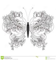 elegant butterfly coloring page stock illustration image 58878978