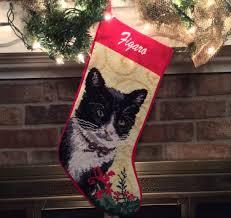 tuxedo cat personalized needlepoint christmas stocking