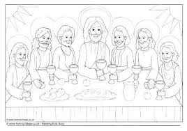 The Last Supper Colouring Page 2 Vonsurroquen Me Last Supper Coloring Page