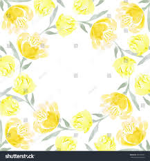 Background Of Invitation Card Watercolor Floral Wreath Yellow Peony Flowers Stock Vector