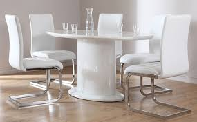 Perth Dining Chairs Monaco Oval White High Gloss Dining Table With 6 Perth White
