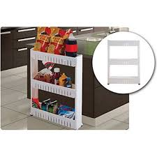 slim storage cabinet organizer slide out cart rack with wheels for