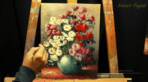 oil painting vase with flowers still life with yasser fayad
