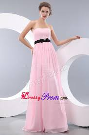 baby pink empire chiffon prom dress belt decorate