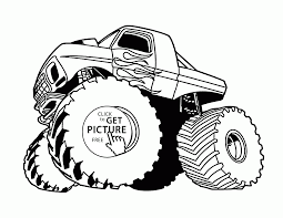 monster truck with flame coloring page for kids transportation