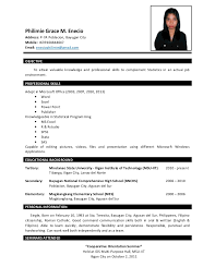 Example Of Resume For Fresh Graduate Information Technology by Sample Resume For Fresh Graduate Mathematics Augustais