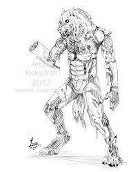 werewolf zombie robot sketch by kekswolf on deviantart