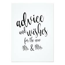 advice and wishes affordable wedding sign card zazzle