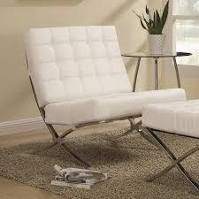 Faux Leather Accent Chair Modern Barcelona Chair White Lounge Leatherette