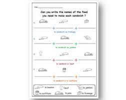 teacher worksheet food words french learning kids