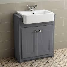667mm cambridge midnight grey floorstanding basin vanity unit