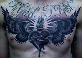fantastic black with wings on chest tattooshunter com