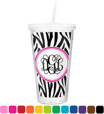 zebra print double wall tumbler with straw personalized potty