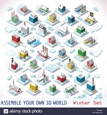 vector isometric buildings winter snow ice nordic villas private