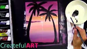 how to paint a sunset with palm trees art lesson youtube