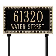 address plaques address signs the home depot egg and dart rectangular black gold standard lawn two line address plaque