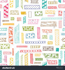 Decorative Scotch Tape Colorful Strips Decorative Masking Tape Seamless Stock Vector