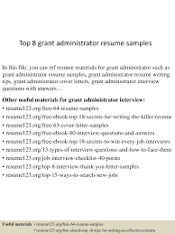 grant writing on resume top8grantadministratorresumesamples 150507064941 lva1 app6891 thumbnail 4 jpg cb 1430981430