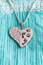 Personalized Paw Print Necklace Pets Have A Way Stainless Steel Necklace Footprints Heart