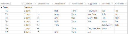 creating a responsibility matrix with microsoft project 2013