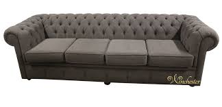 Grey Fabric Chesterfield Sofa by Chesterfield 4 Seater Settee Verity Plain Steel Fabric Sofa Offer