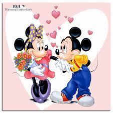diy diamond painting lovely cartoon drawing mickey minnie kiss