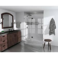 39 Shower Door 39 In X 78 In Frameless Glass Hinged Shower Door In Rub
