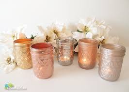 metallic painted mason jars candle holders vase rose