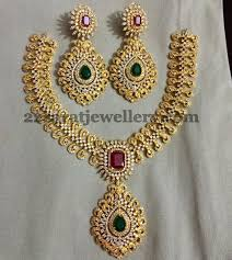 meena work imitation grand necklace jewellery designs necklaces