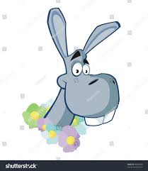 funny donkey garland flowers stock illustration 56968840