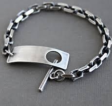 silver chain bracelet men images Mens heavy chain bracelet mens silver bracelet toggle clasp jpg