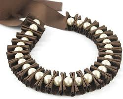 jewelry ribbon necklace images Items similar to ribbon jewelry chocolate brown pleated ribbon jpg