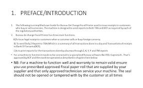 bureau de change 4 user guide for fiscal printer for bureau de change ppt