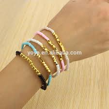 metal beads bracelet images Brr0710 fashion diy seed bead bracelets small tiny gold metal jpg