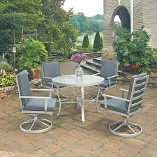 Round Wicker Patio Dining Set - home styles south beach grey 5 piece round extruded aluminum