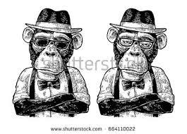 vintage black chimpanzee monkey soldier helmet glasses peace stock vector