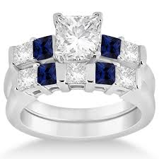 stone set rings images 5 stone diamond blue sapphire bridal set 14k white gold 1 02ct jpg