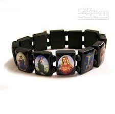 catholic bracelet wooden jesus holy saints christian religious catholic