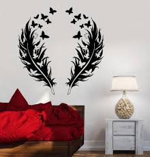 vinyl wall decal feathers butterfly love romantic bedroom design vinyl wall decal feathers butterfly love romantic bedroom design stickers 866ig