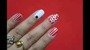 red and white nail design youtube
