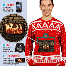 digital dudz crackling fireplace digital christmas sweater at