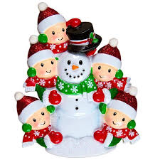 building a snowman family personalized ornaments families of 3
