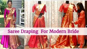 saree draping new styles how to wear saree in modern style for bride saree draping youtube