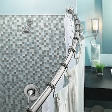 Curved Shower Curtain Bar - moen adjustable curved chrome shower rod bed bath u0026 beyond