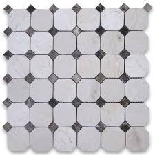 crema marfil 2 inch octagon mosaic tile w emperador dots