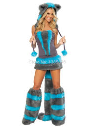 fluffy halloween costumes blue gray fluffy cheshire catwoman animal onesie cat costume on