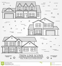 set of vector thin line icon suburban american houses for web