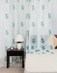 White Silk Curtains Buy Fabindia Blue White Silk Cotton Printed Curtain