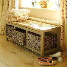 Storage Bench With Baskets Wicker Storage Bench Design Home Decor With Collection Of